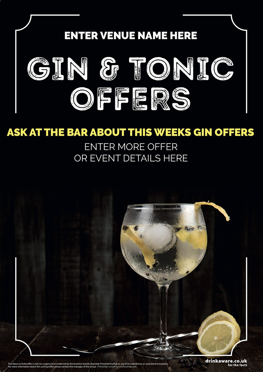 Gin Amp Tonic Photo Poster A3 Promote Your Pub