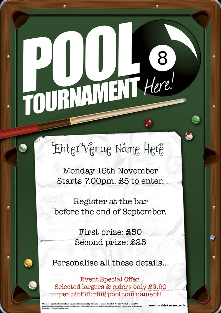 pool tournament flyer  a5