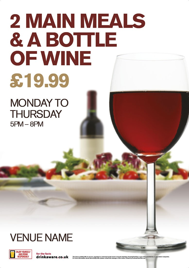 2 Meals & Bottle Wine Poster (A3)