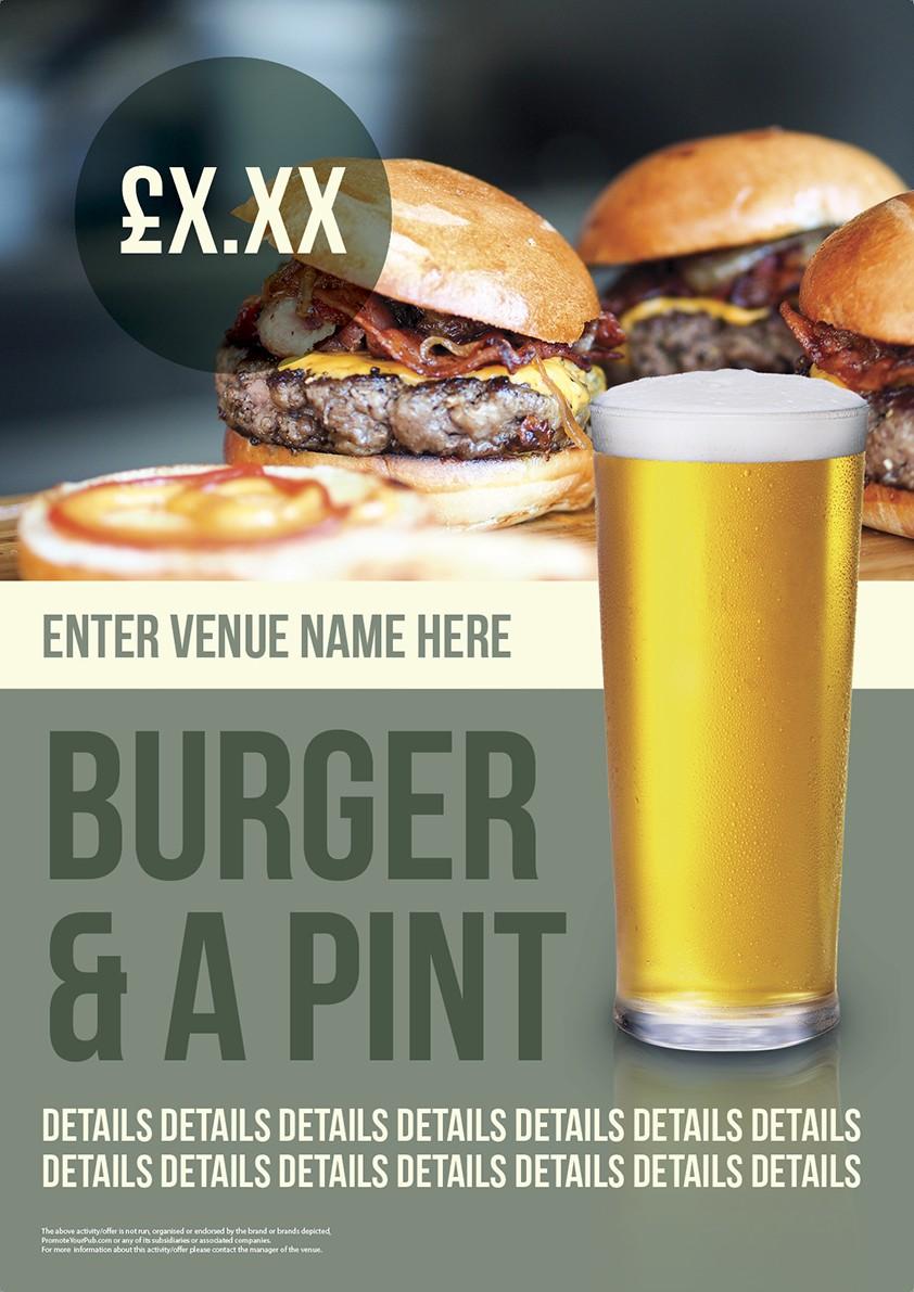 Burger & a Pint Poster (A3)