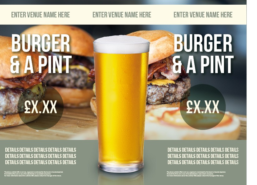 Burger & a Pint 3 Sided Table Talker (10 per pack)