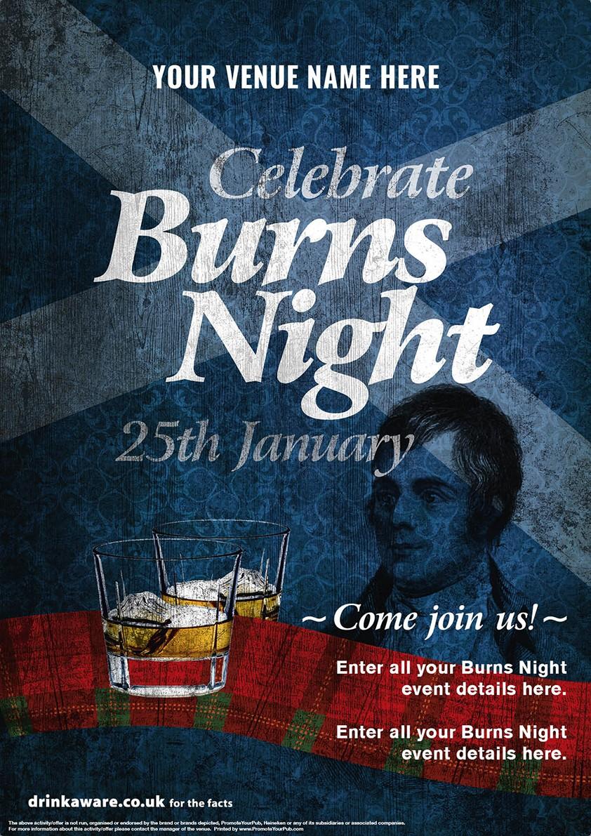 Burns Night 'Whisky Ribbon' Poster (A4)