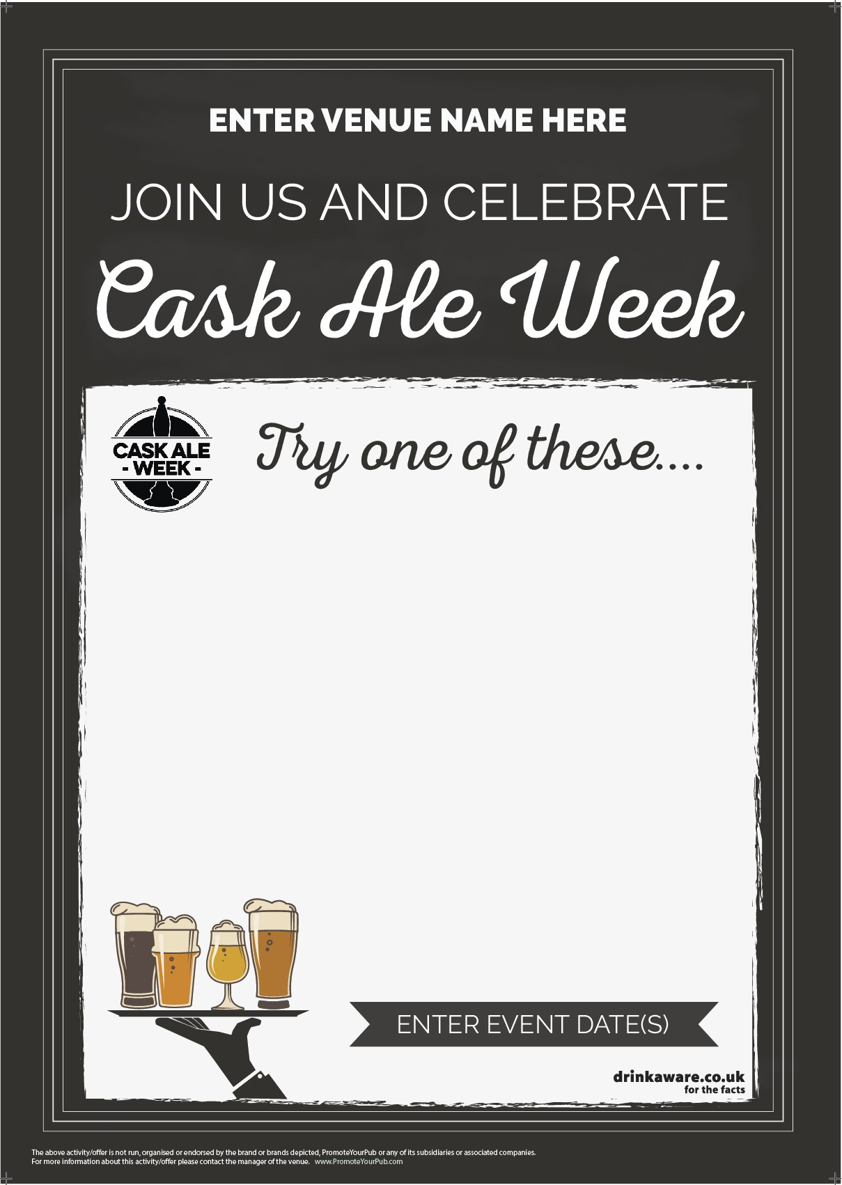 Cask Ale Week 'Empty Belly' Poster (chalk) (A1)