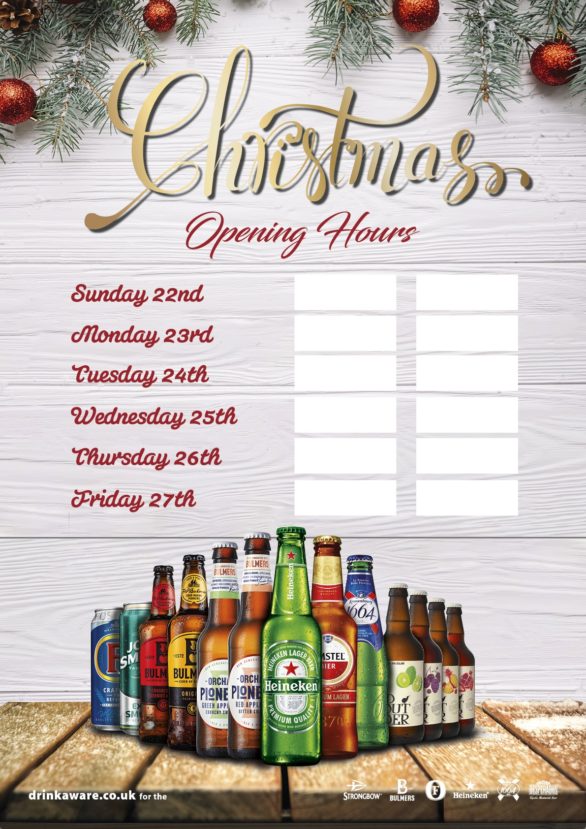 Christmas Opening Hours Poster (Branded)
