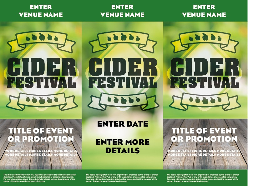Cider Festival Green 3 Sided Table Talker (10 per pack)