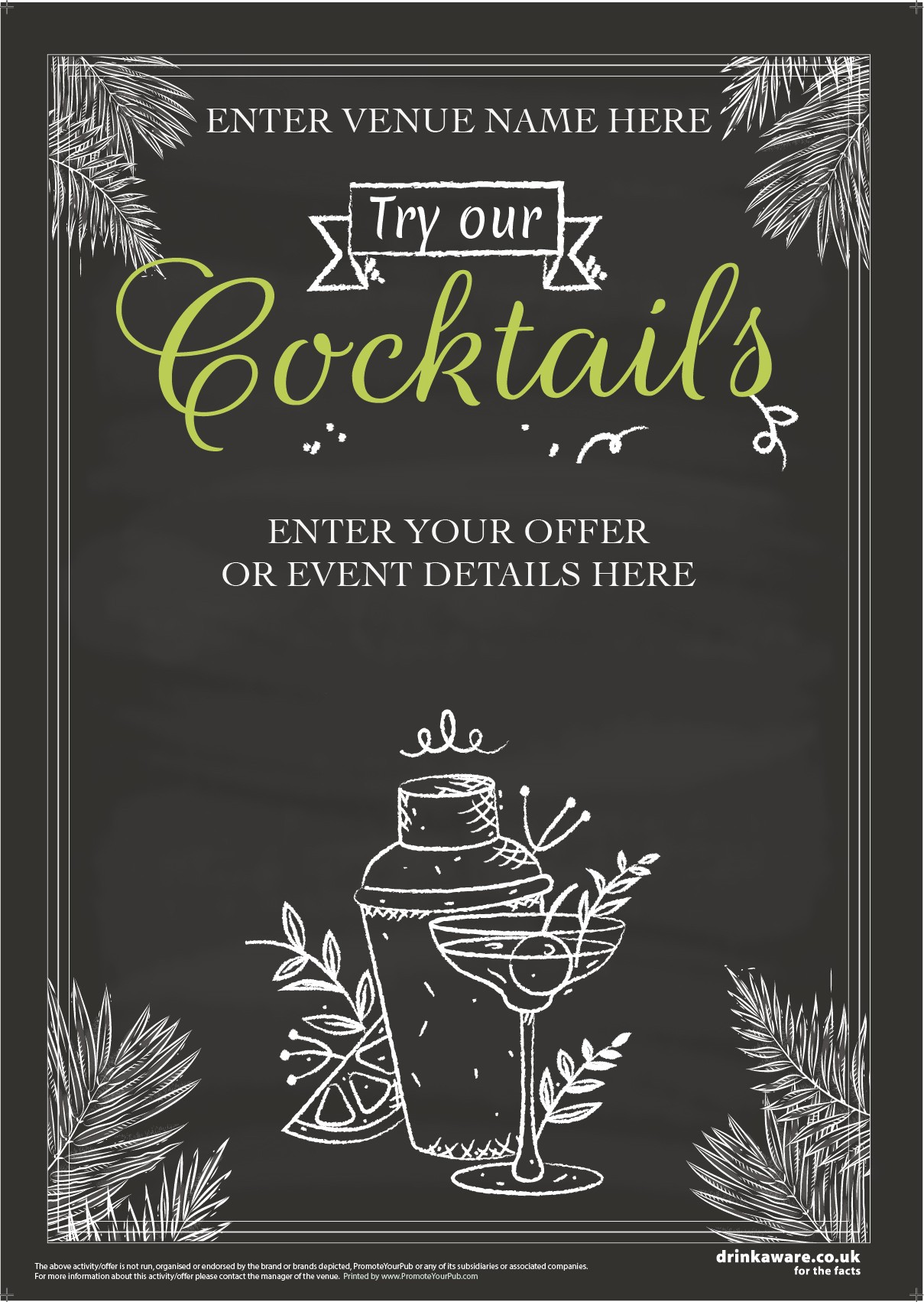 Summer Cocktails Outdoor Sign (chalk) (A0)