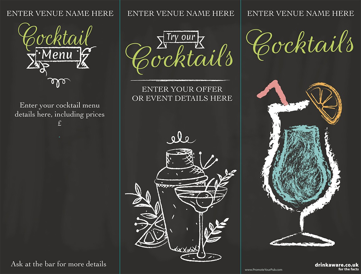 Summer Cocktails 3 Sided Table Talker (chalk) (10 per pack)