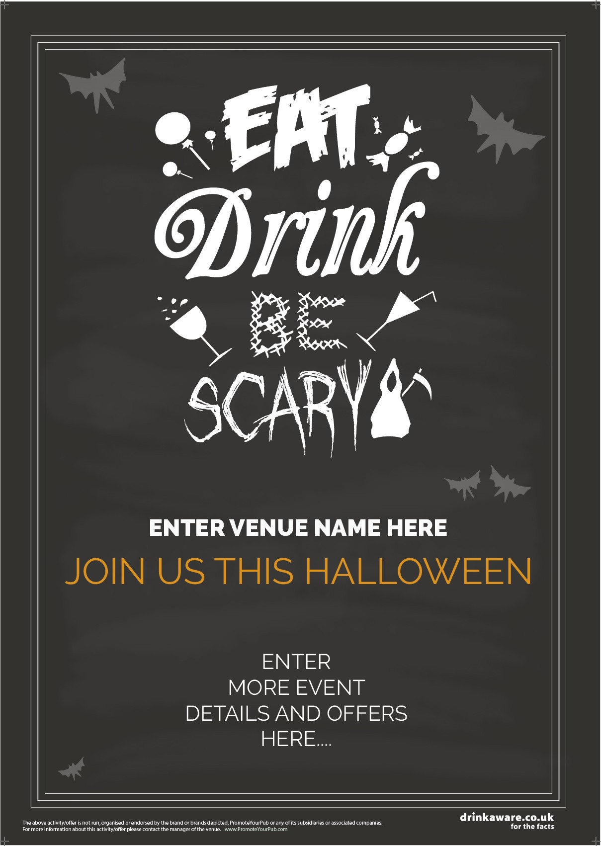 Halloween Party Poster (Eat Drink Scary) (A5)