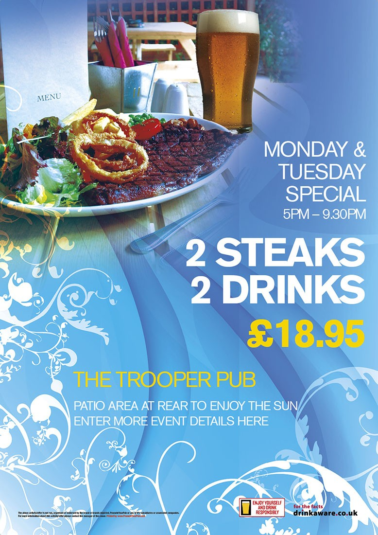 2 Steaks, 2 drinks Poster (A4)