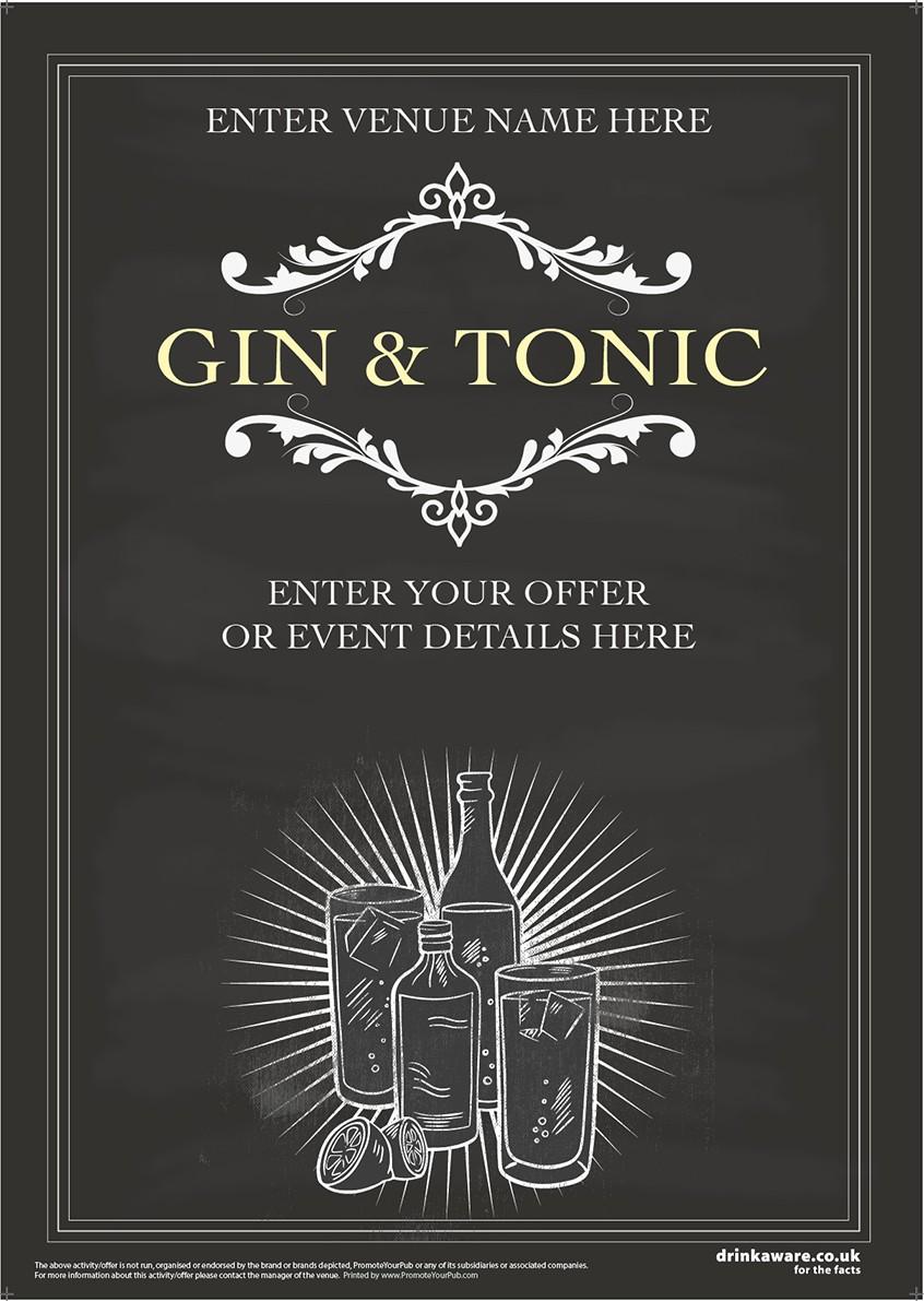 Gin & Tonic (chalkboard) Poster (A3)