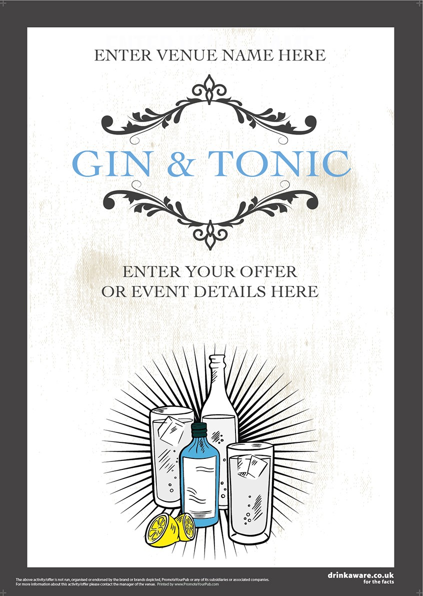 Gin & Tonic (white) Poster (A2)