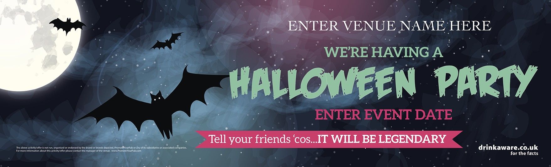 Halloween Party Banner (Bats) (Lrg)