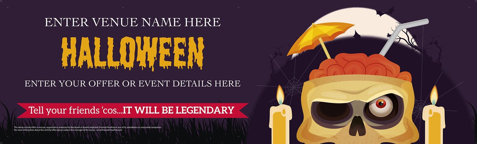Halloween Cocktail Skull Banner