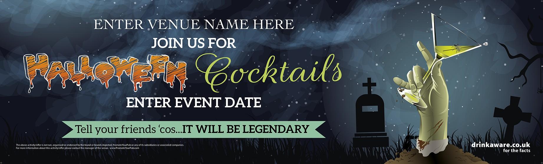 Halloween Cocktail Hands Banner