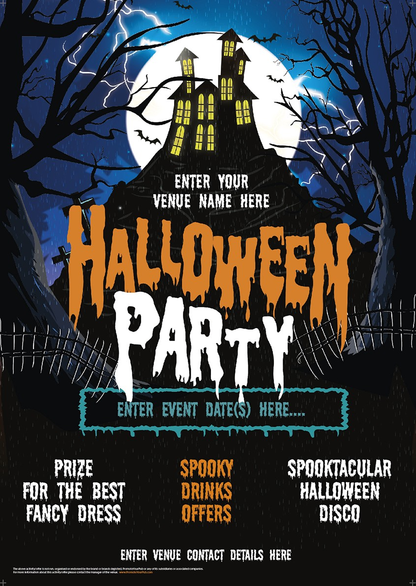 halloween party poster (house on the hill) | promote your pub