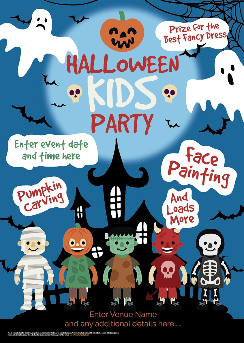kids halloween party poster | promote your pub