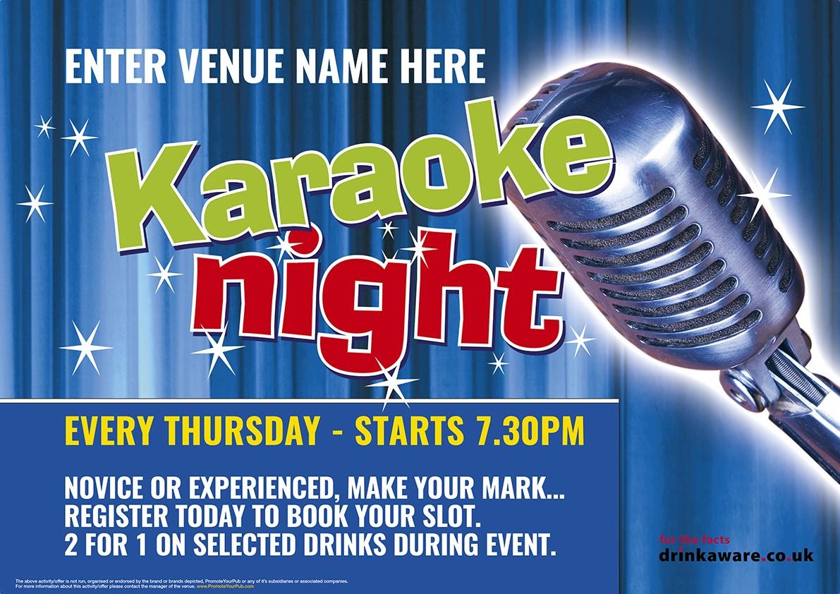 Karaoke Night Outdoor Sign 1500mm x 1000mm