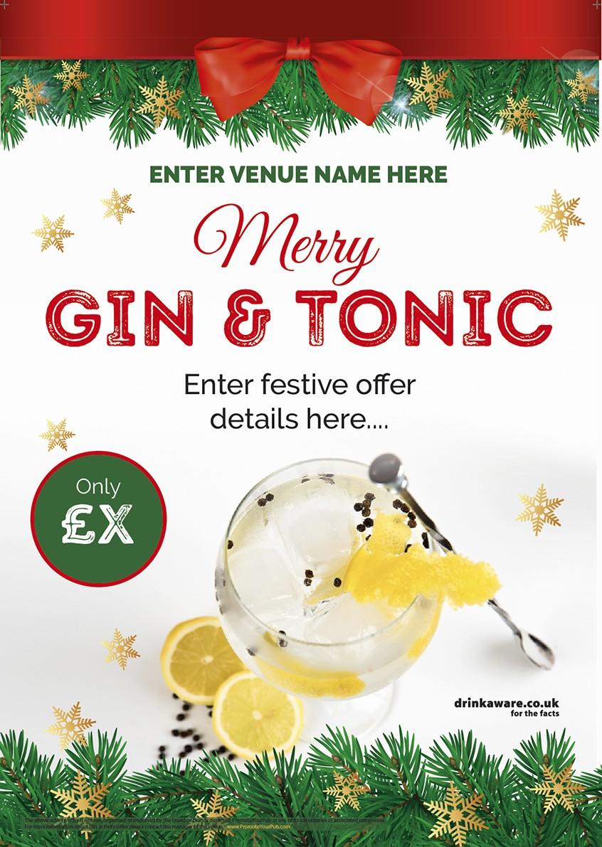 Christmas Gin & Tonic Poster (A3)