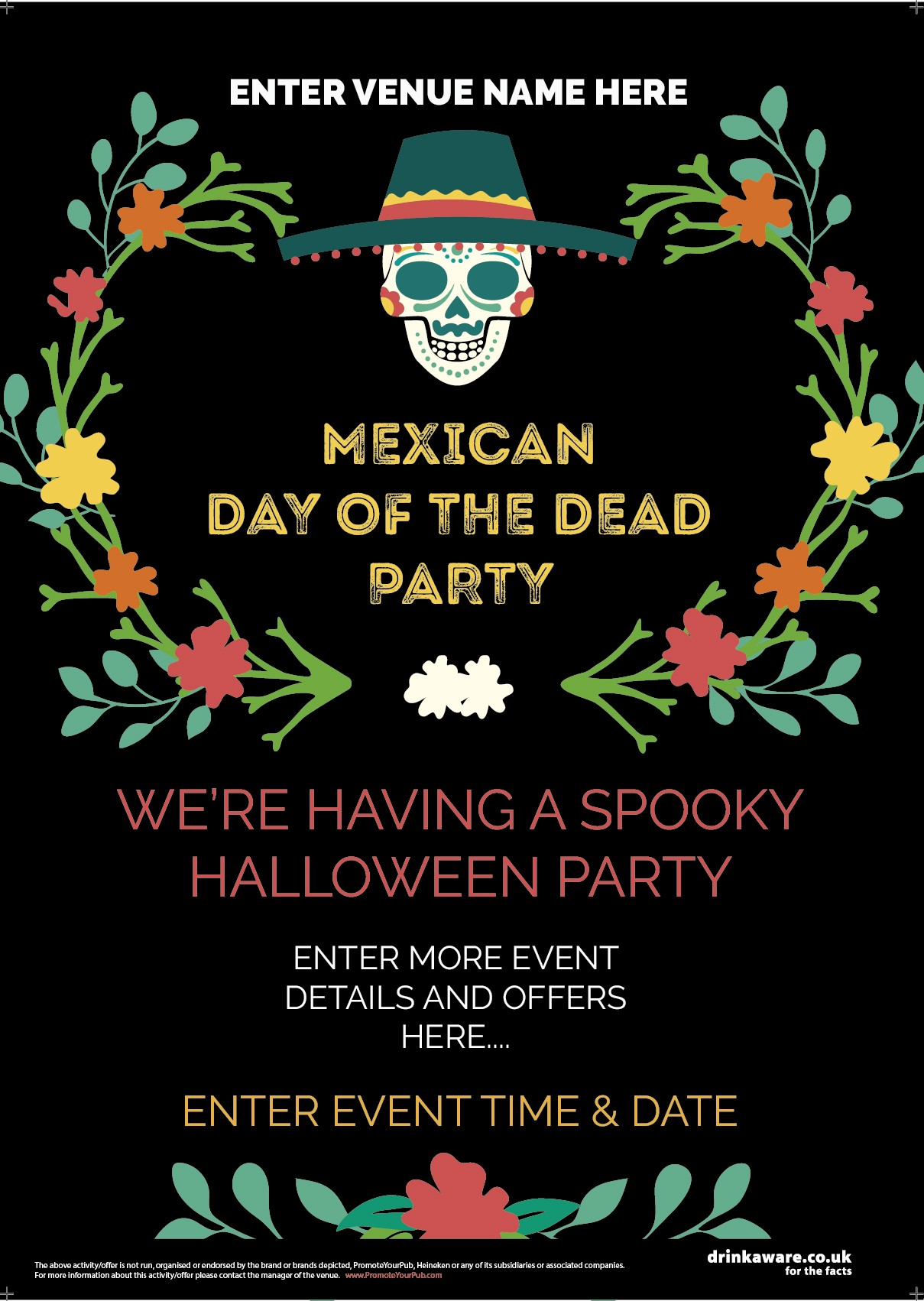 Halloween Mexican Day Of The Dead Poster Promote Your Pub