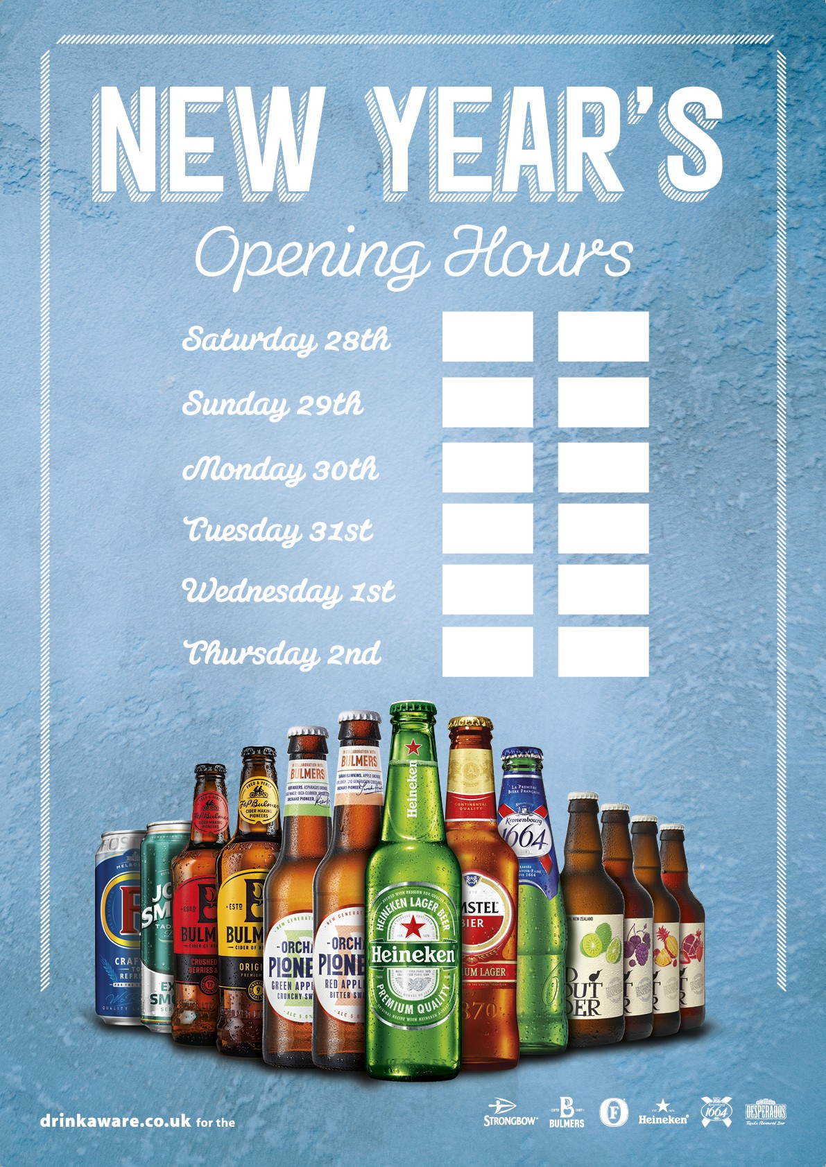 New Year Opening Hours Poster (Branded)