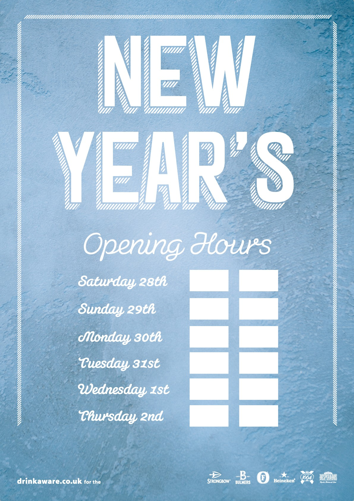 New Year Opening Hours Poster
