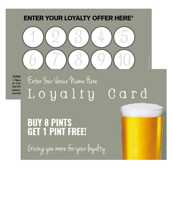 Pint Glass Loyalty Card