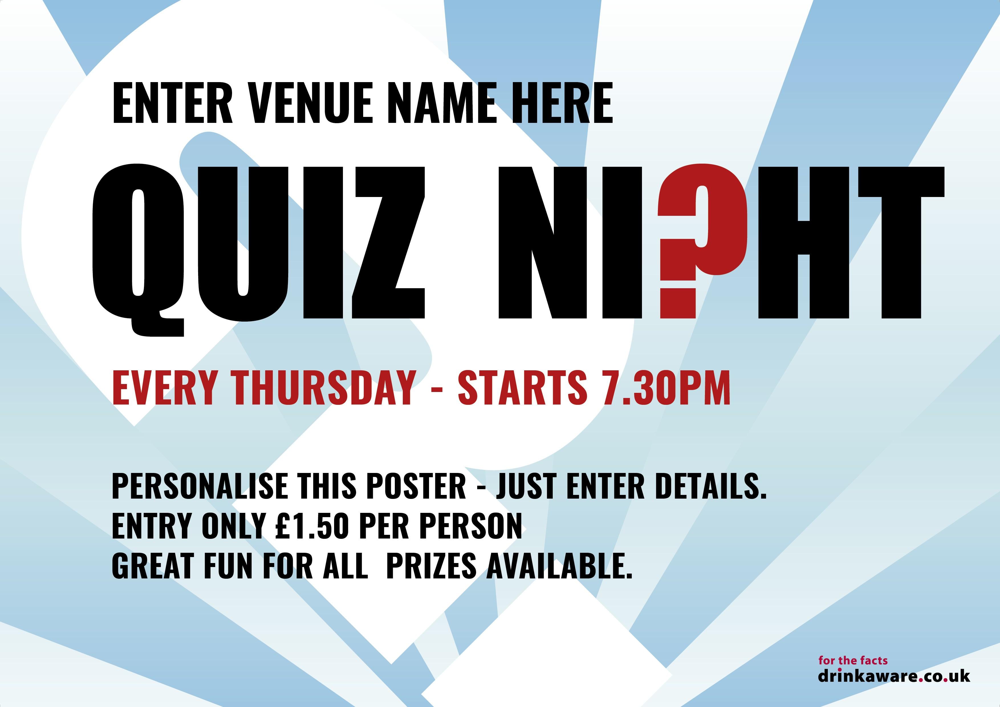 Quiz Night Outdoor Sign A0L