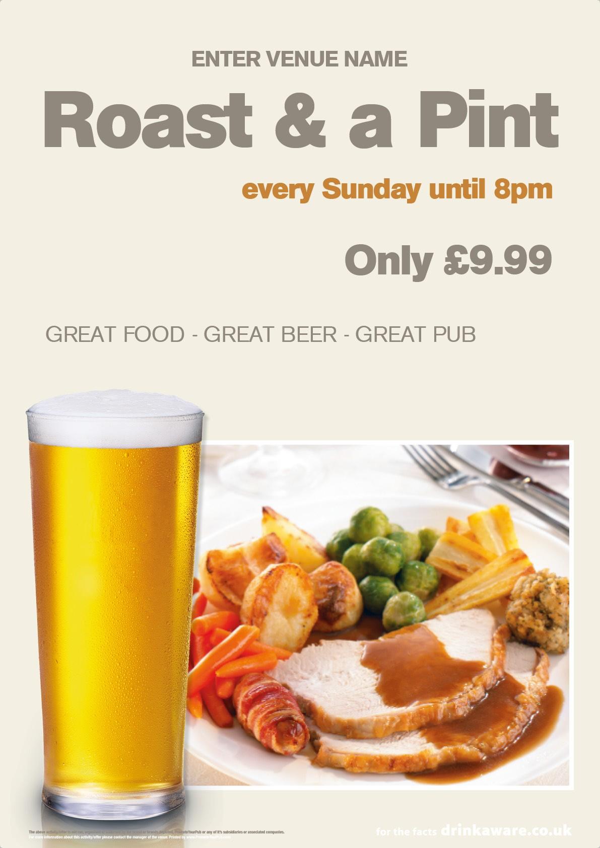 Roast & a Pint Poster (A3)