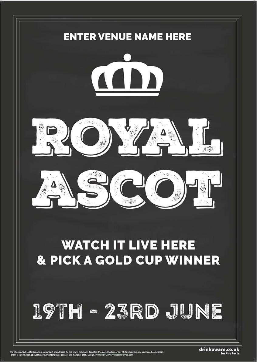 Royal Ascot Racing (chalkboard) Poster (A3)