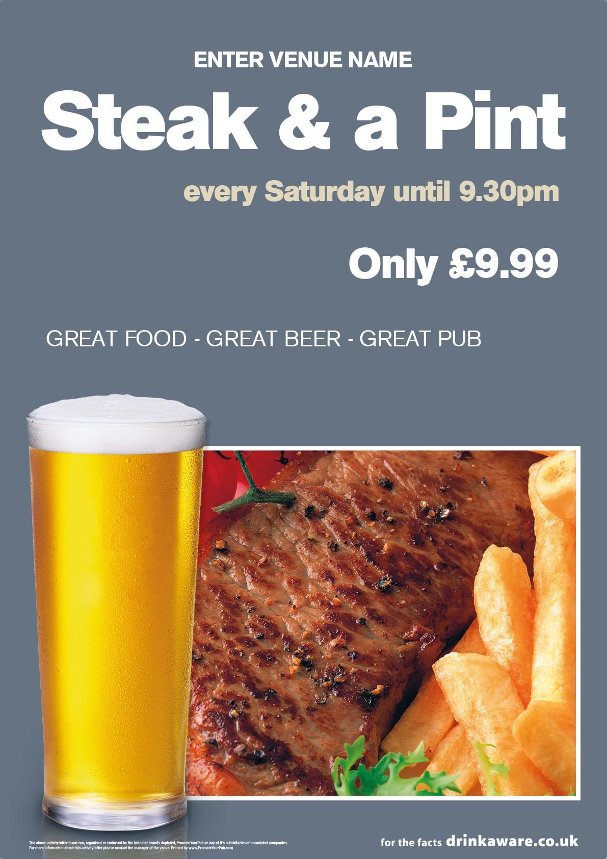 Steak & a Pint Poster (A4)