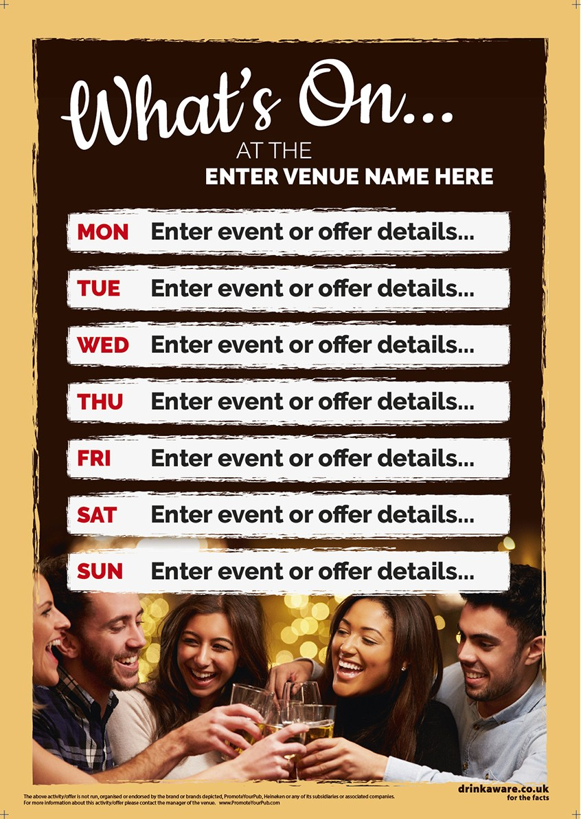 What's On Event Poster (7 days) 1000 x 1500mm Outdoor