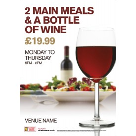 2 Meals & Bottle Wine Poster (A4)