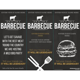 BBQ 3 Sided Table Talker (chalk) (10 per pack)
