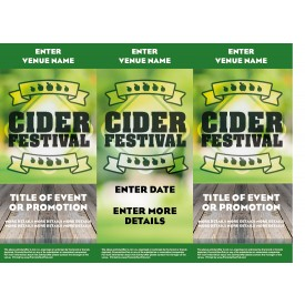 Cider Festival Green 3 Sided Table Talker (10 per pack)