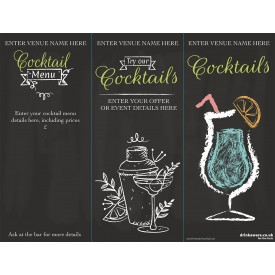 Summer Cocktails 3 Sided Table Talker (chalk) (10 per pack)