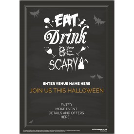Halloween Party Poster (Eat Drink Scary) (A2)