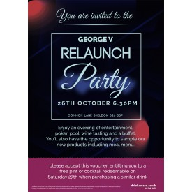 George V Relaunch Party Flyer (A5)