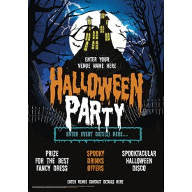 Halloween Party Poster (House on the hill) (A4)