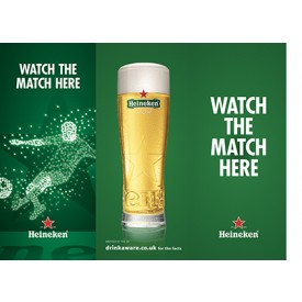 Heineken Football 3 Sided Table Talker (10 per pack)