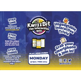 KWIZZBIT 'BELLY' QUIZ 3 Sided Table Talker (10 per pack)