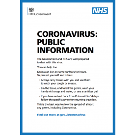 NHS Coronavirus Public Poster - DOWNLOAD ONLY