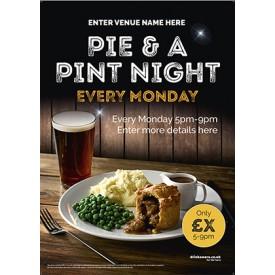 Pie & a Pint Night Poster (A2)