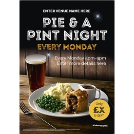 Pie & a Pint Night Poster (A4)