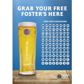 Foster's Free Pint Countdown Poster