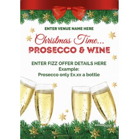 Christmas Prosecco & Wine Poster (A4)