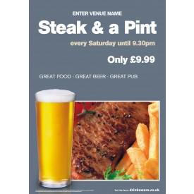 Steak & a Pint Poster (A1)