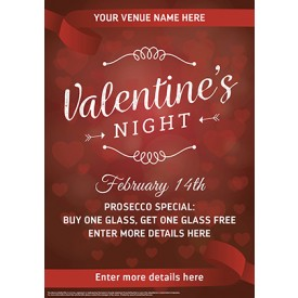 Valentines Night Red Poster (A4)