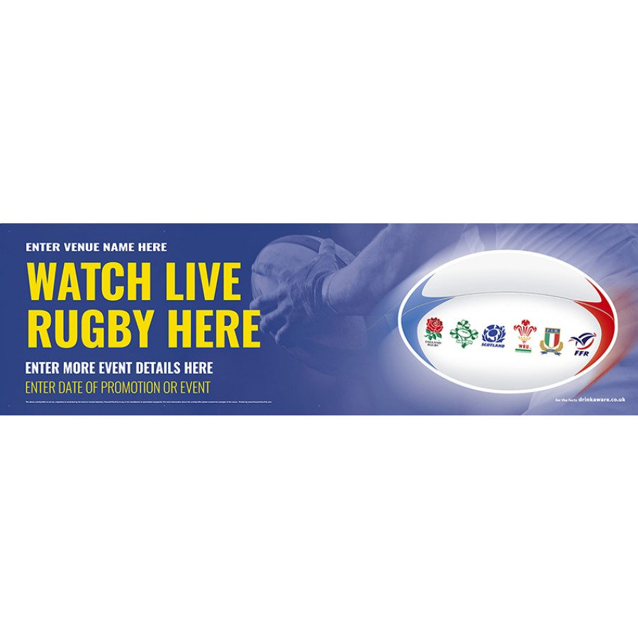 6 Nations Rugby Here Banner (Lrg)