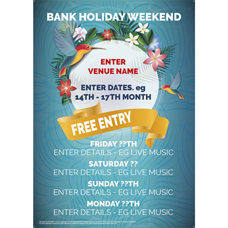 Bank Holiday Weekend v2 Poster (A3)