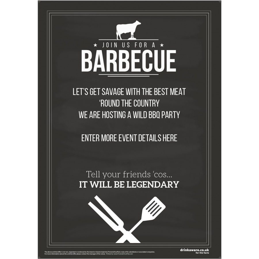Join Us for a BBQ Poster (chalk) (A2)